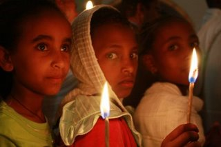 Beautiful faces in candle light